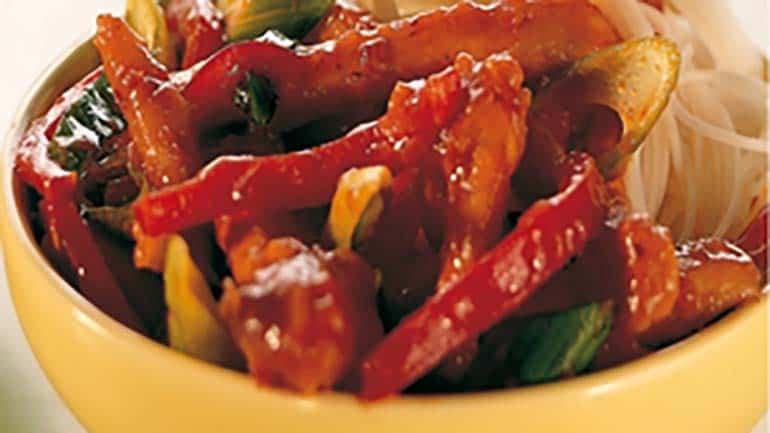Zoetzure kipreepjes met paprika