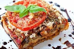 Aubergine lasagne met noten recept
