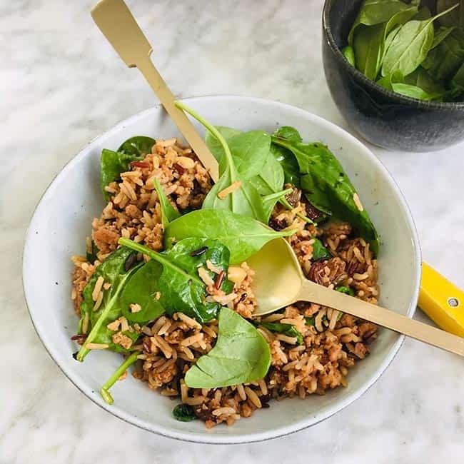 Pilav gehakt rozijnen en spinazie recept