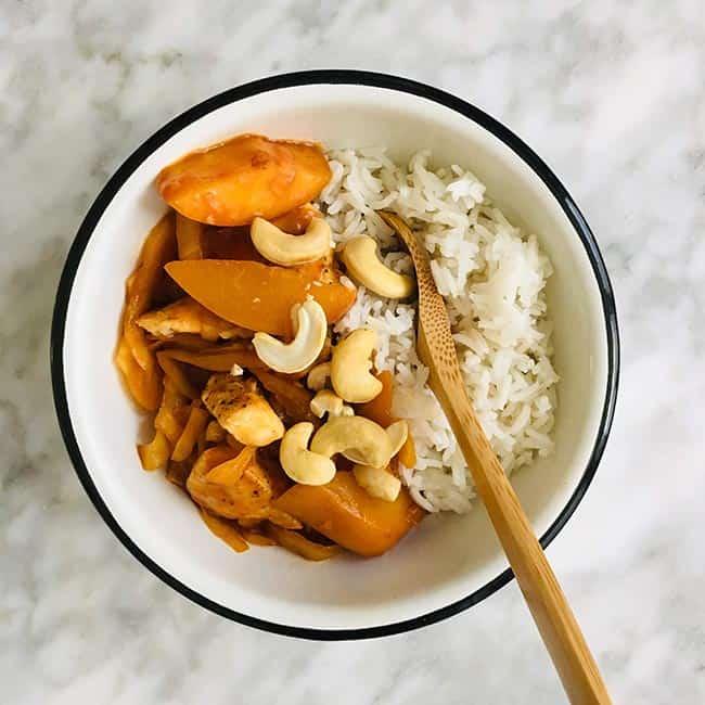 Rijst met kip perzik en cashewnoten simpel recept