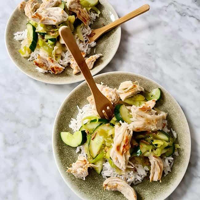 Kip rijst komkommer oestersaus recept