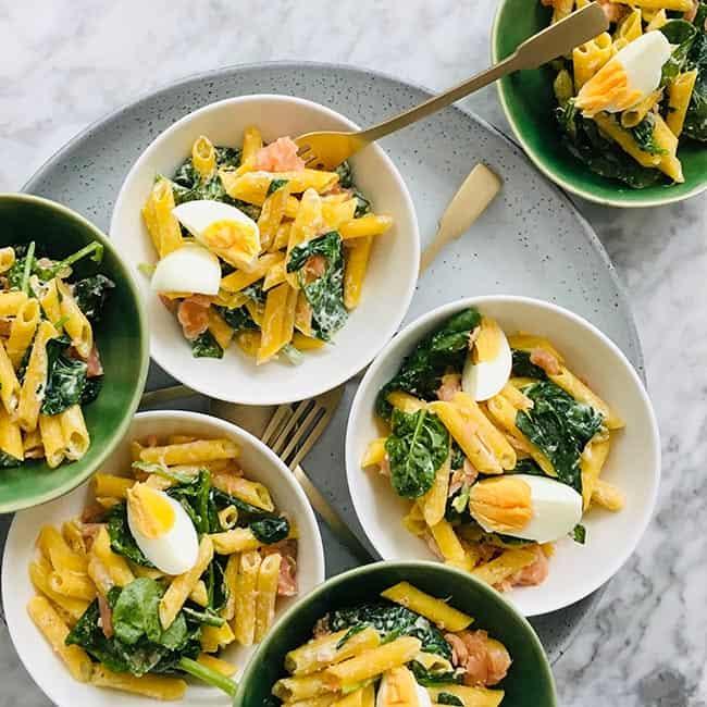 Recept Pasta met zalm en spinazie