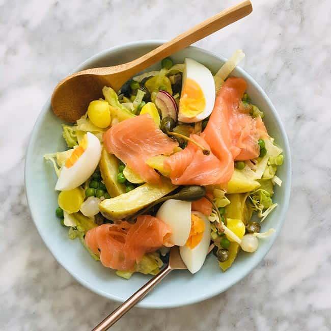 Aardappelsalade gerookte zalm simpel recept