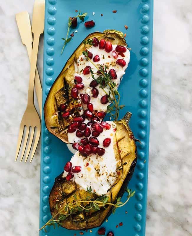 Gepofte aubergine burrata voorbereiding