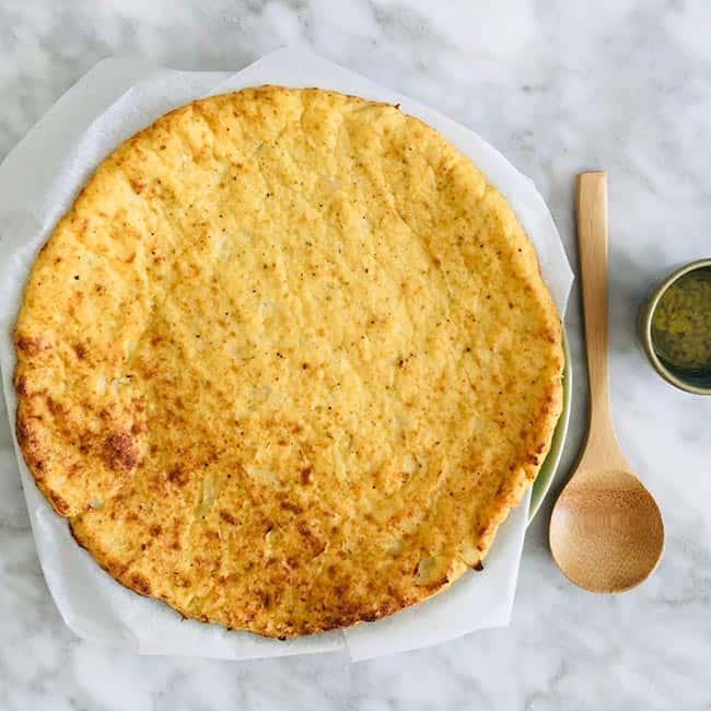 Bloemkoolpizza bodem uit de oven