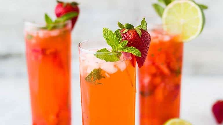 Aardbeien cocktail zonder alcohol