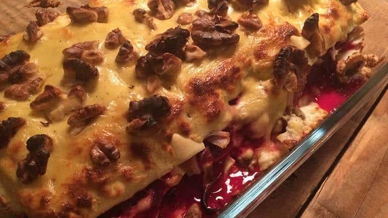 Lasagne van bietjes, geitenkaas en appel