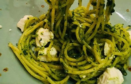 Spaghetti met spinazie en feta