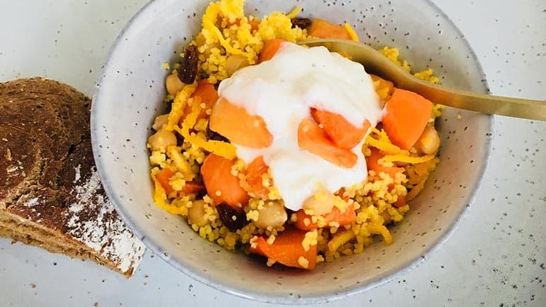 Pompoen couscous en kikkererwten
