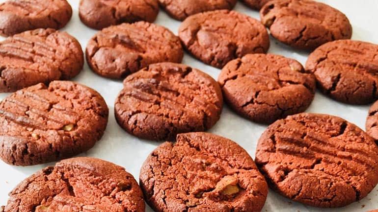 Red Velvet koekjes met witte chocolade