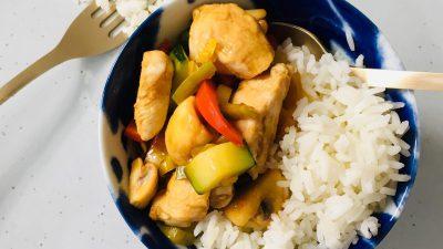 Wok recept met kip en groente