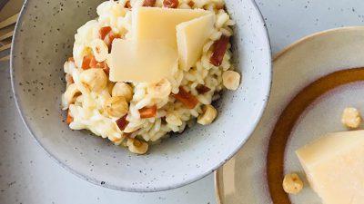 Risotto met spekjes en hazelnoten recept