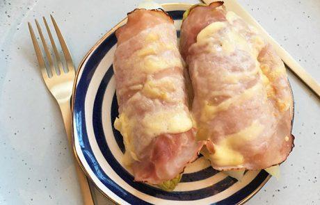 Snelle Witlof met ham en kaas uit de oven