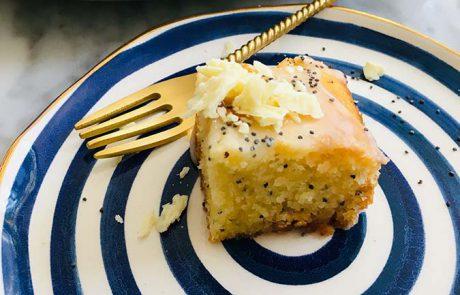 Citroen maanzaad cake recept met witte chocolade glazuur