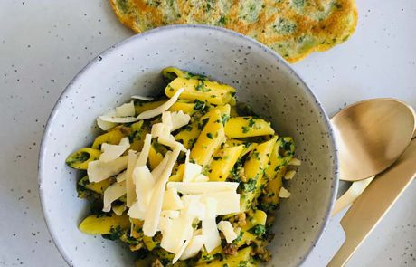Penne met spinazie gehakt en roomkaas recept