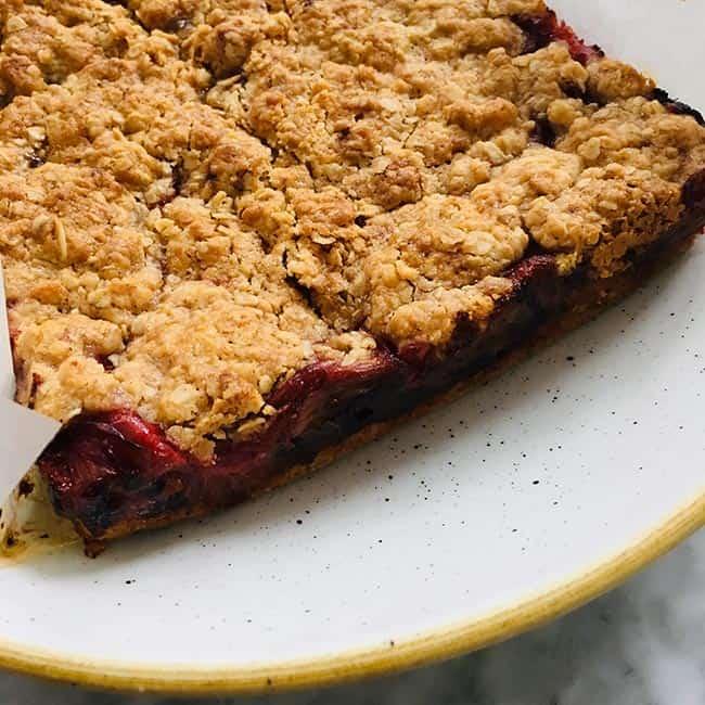 Rabarber crumble taart met havermout zonder ijs recept