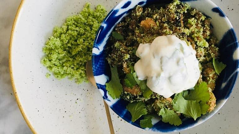 Broccolirijst met gehakt en champignons