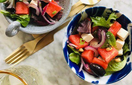 Watermeloen en fetakaas salade