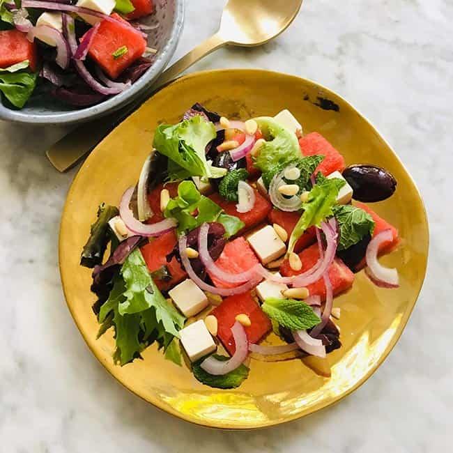 Watermeloen en fetakaas salade recept