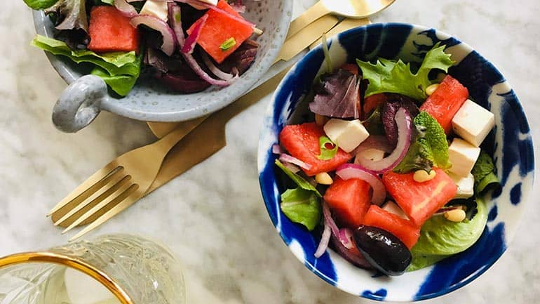 Watermeloen en feta kaas salade