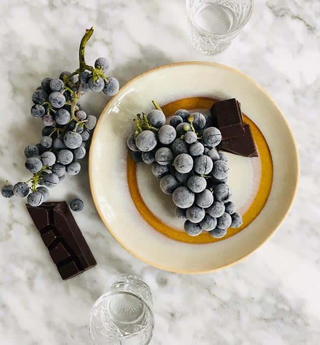 Bevroren druiven met pure chocolade recept