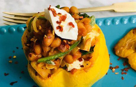 Paprika gevuld met spinazie en feta