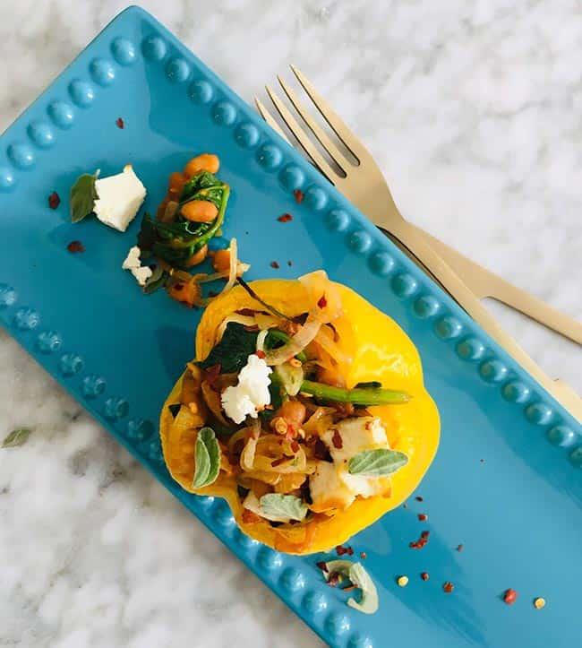 Paprika gevuld met spinazie en feta recept