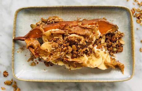 Ontbijt met zoete aardappel pindakaas recept