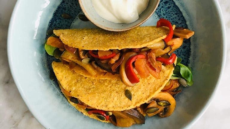 Taco met champignons en aubergine
