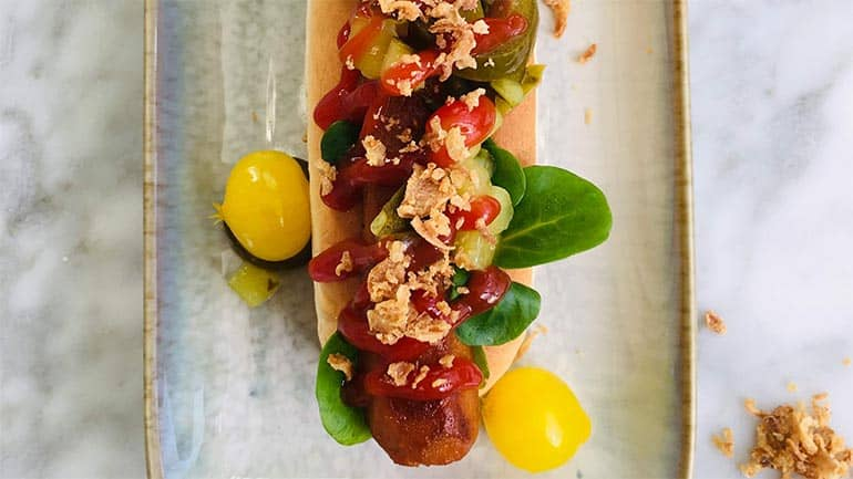 Vegan hotdog maken
