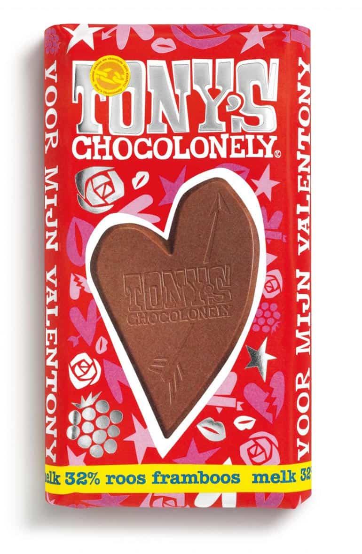 Tony's Chocolonely valentijnsreep melk roos framboos reep