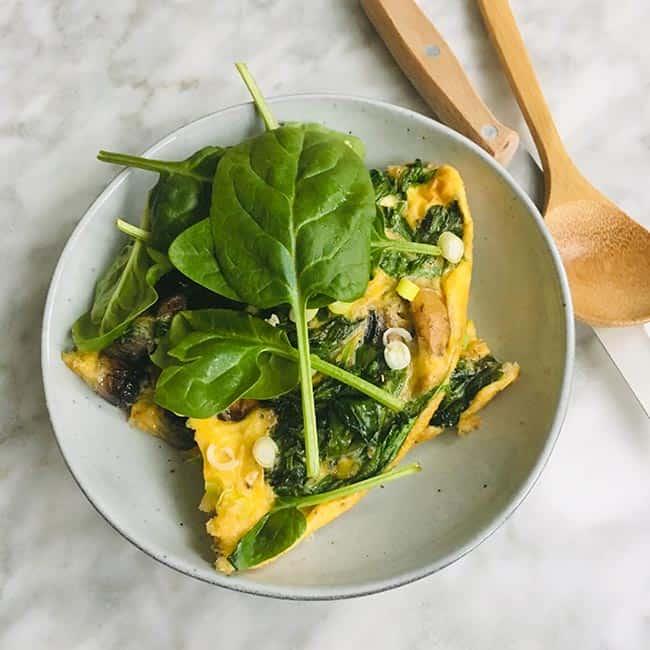 Frittata spinazie champignons