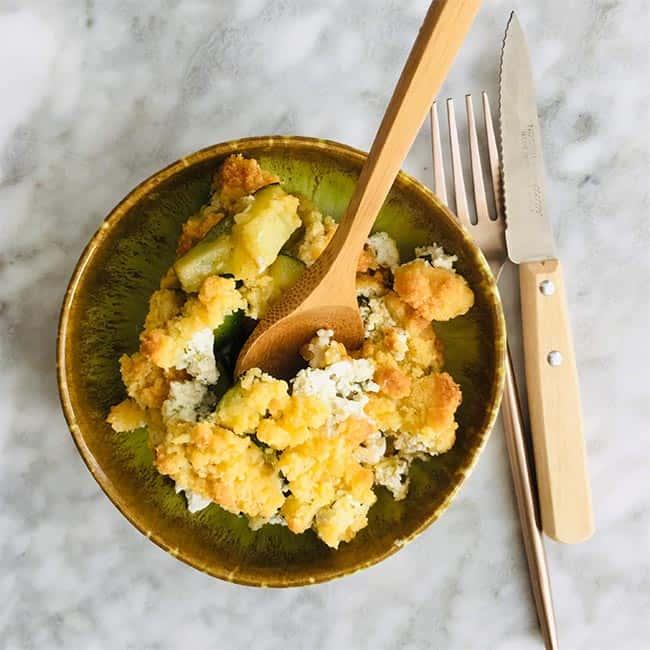 Courgette geitenkaas en crumble recept