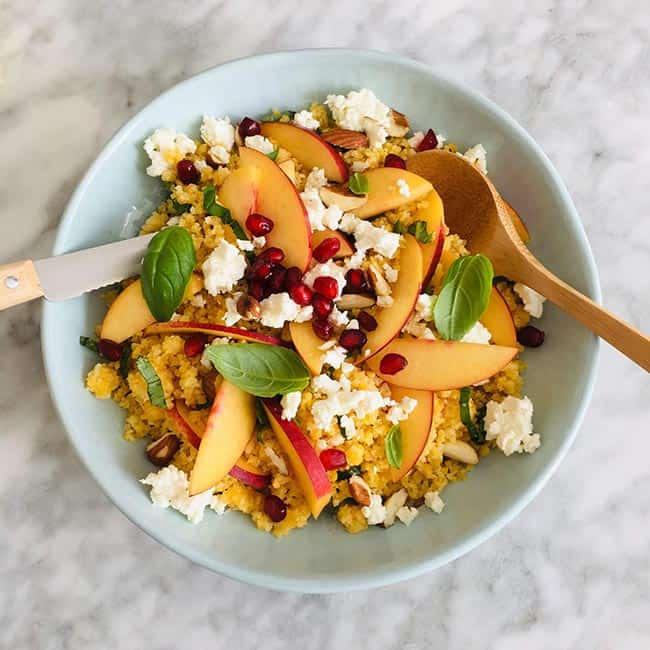 Couscous met nectarine en amandelen simpele recept