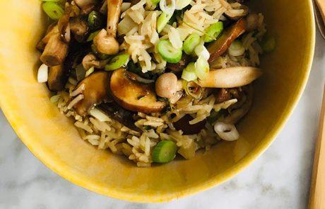 Rijst met paddestoelen recept