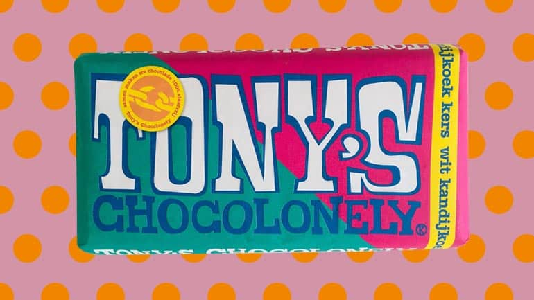 Tony Chocolonely wit kandijkoek kers reep
