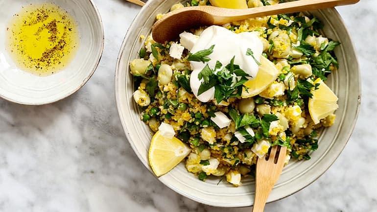 Couscoussalade met tuinbonen recept