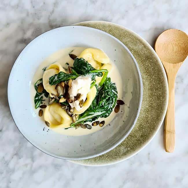 Tortellini spinazie gorgonzola recept