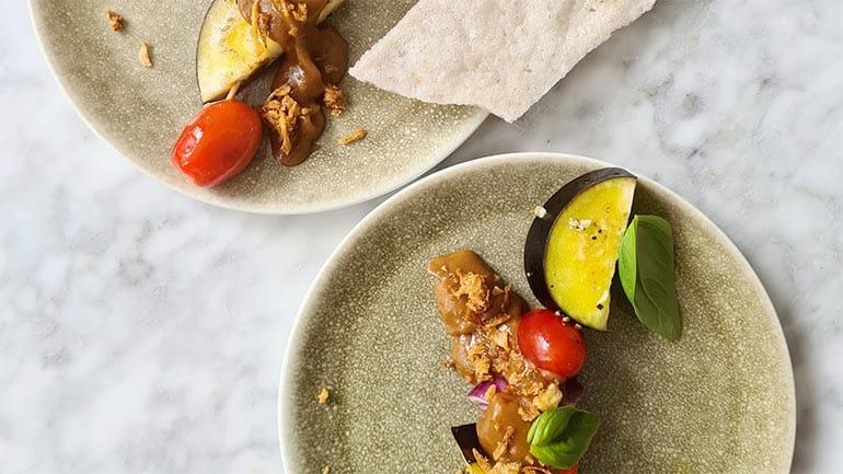 Vegetarische shaslick maken simpel