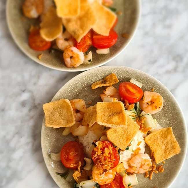 Zoete chili garnalen kokosrijst recept