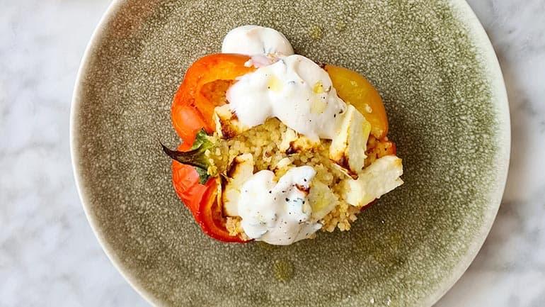 Gevulde paprika met couscous en feta kaas