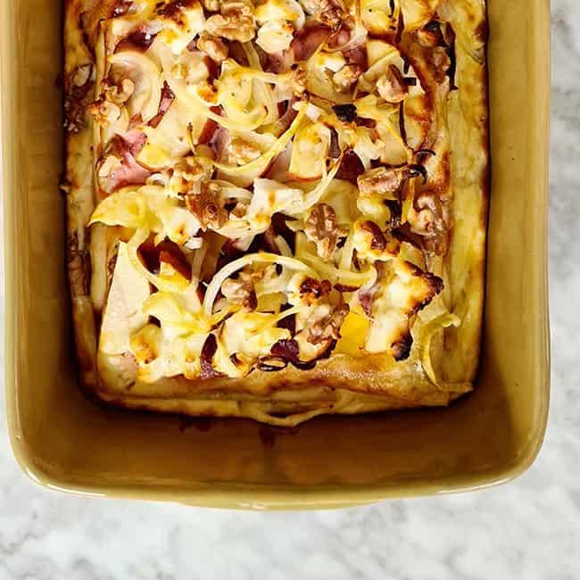 Lasagne met biet appel en walnoten recept