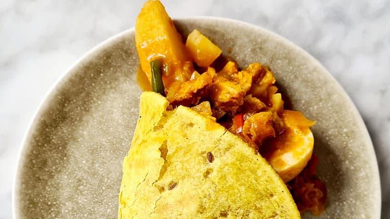 Surinaamse roti kip masala maken