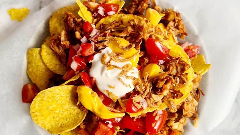 Vega nachos met jack fruit