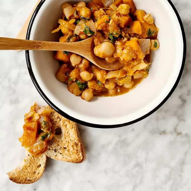 Bonen groenten stoof pompoen en wortel