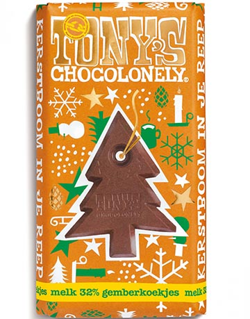 Tony Chocolonely kerstreep gemberkoekjes