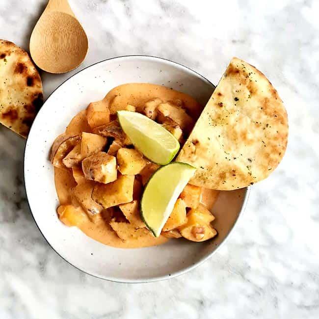 Zoete paarse aardappel curry recept