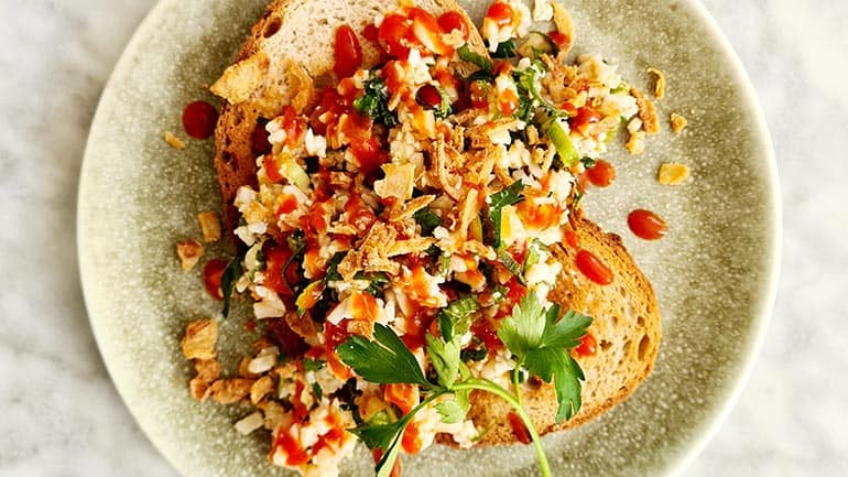 Bloemkool couscous met tomaat en koriander