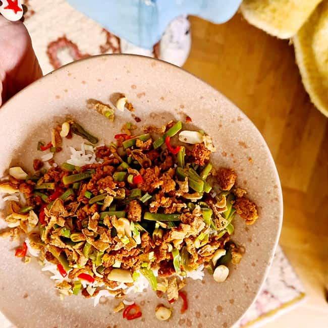 Bordje rijst met snijbonen