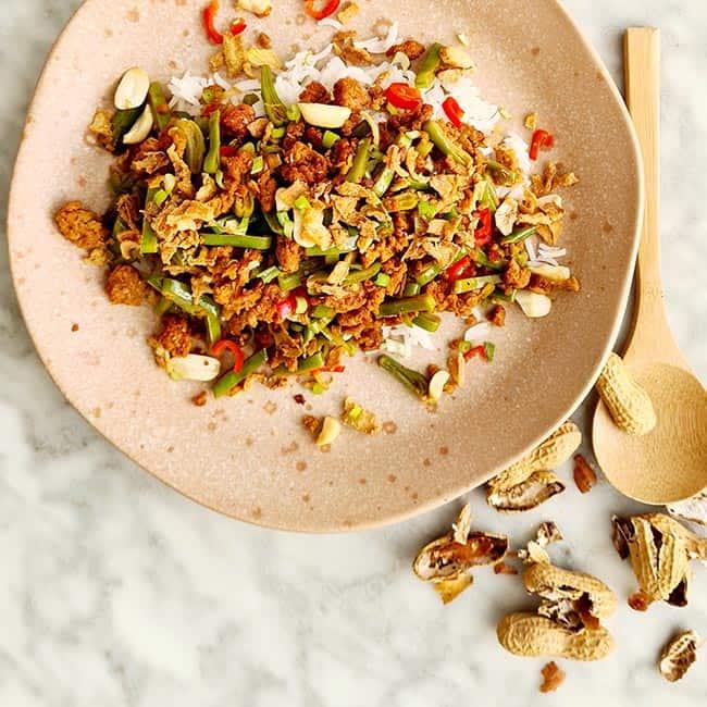 Snijbonen met vega gehakt recept